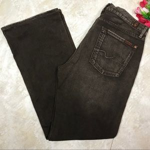 7 FOR ALL MANKIND BROWN DISTRESSED BOOTCUT JEANS